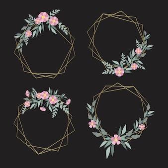 Zarte rosa blüten mit blättern auf goldenen rahmen