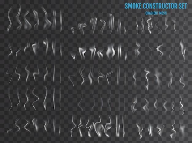 Zarte weiße zigarettenrauchwellen auf transparentem hintergrund. illustration
