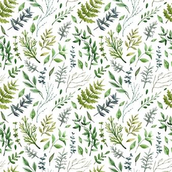 Zarter grüner nahtloser hintergrund mit kräutern, blättern, zweigen.