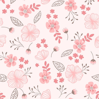 Zartes ditsy nahtloses muster in rosa farben süße blumen hinterlässt kleine äste