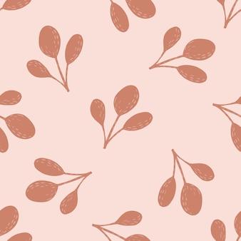 Zartes frühlingsmuster in rosa pastellfarben mit blatt-skandi-silhouetten. zufällige botanische kunstwerke. abbildung auf lager. vektordesign für textilien, stoffe, geschenkpapier, tapeten.