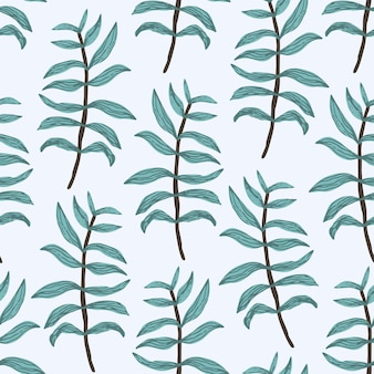 Zartes grün nahtloses muster. handgezeichnete farnblätter und zweige
