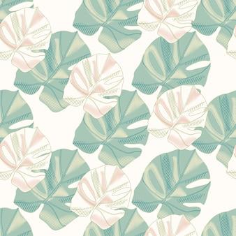 Zartes isoliertes nahtloses muster mit monstera-blattverzierung. grünes und rosa gefärbtes laub auf weißem hintergrund.