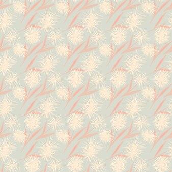 Zartes leichtes nahtloses muster mit löwenzahnblume. stilisierter blumendruck in den pastelltönen rosa und blau. zum einwickeln, textil-, stoffdruck und tapeten. .