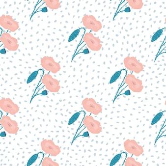 Zartes nahtloses muster mit mohnblumenverzierung. rosa helle farbelemente auf weißem hintergrund mit punkten.