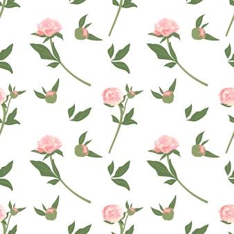 Zartes nahtloses muster mit pfingstrosen süßen blumenfrühlings- oder sommerdruckblumen mit blättern