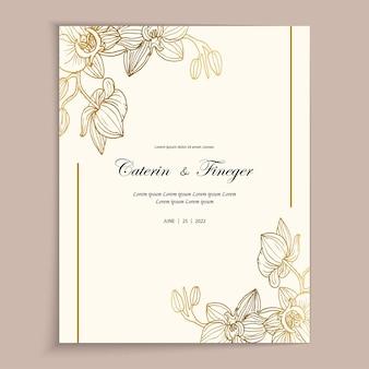 Zartes vintage-grußkarten-vorlagendesign mit goldenen blumen für die hochzeit
