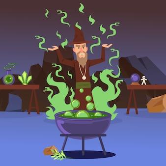 Zauberer, der einen zauber wirkt. schlechte zaubererzeichentrickfilm-figur, großer kessel mit kochendem trank, mittelalterliche märchenmagie. mächtiger alchemist, unheimlicher hexenmeister
