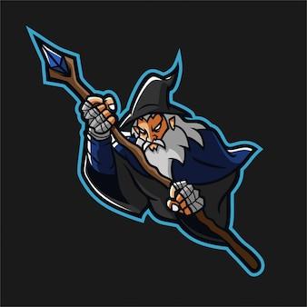 Zauberer esport gaming maskottchen logo vorlage