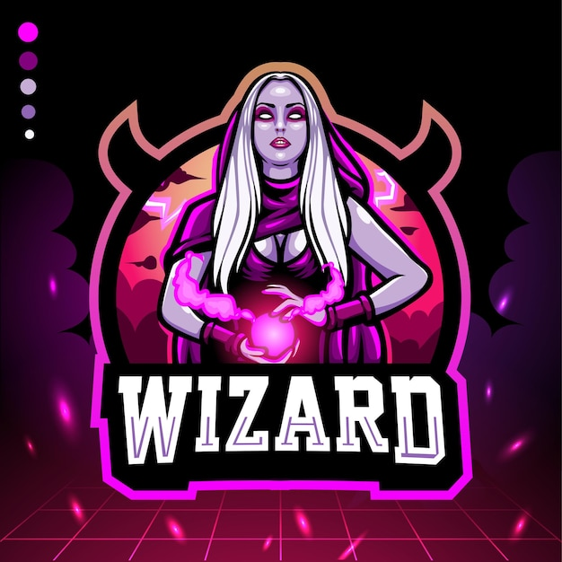 Zauberer magier maskottchen. esport-logo