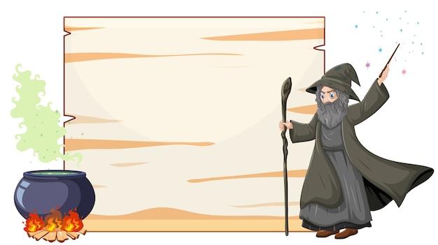 Zauberer mit schwarzem zaubertopf und zauberstab und leerem bannerpapier-karikaturstil lokalisiert auf weiß