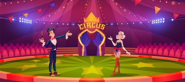 Zauberer mit zauberstab und frau auf zirkusarena