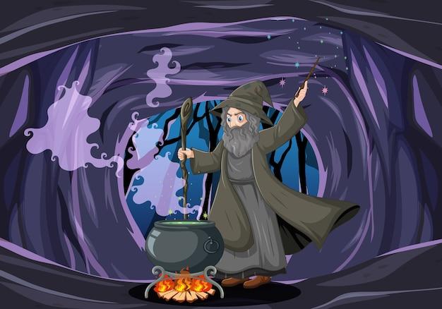 Zauberer oder hexe mit magischem topf auf dunklem höhlenhintergrund