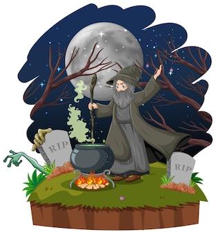 Zauberer oder hexe mit magischem topf und grabkarikaturstil lokalisiert auf weißem hintergrund