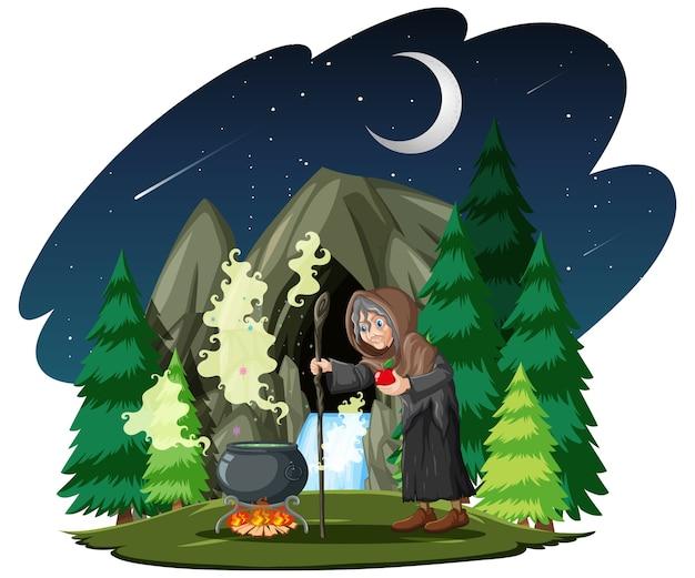 Zauberer oder hexe mit zaubertopf auf dunklem wald