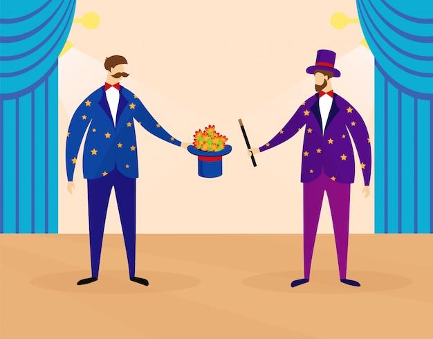Zauberer performing show für kinder auf der zirkusbühne