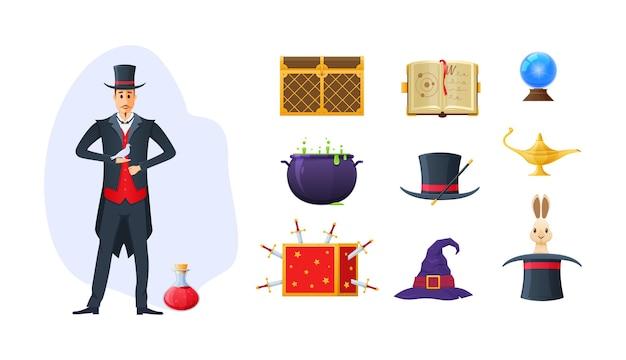 Zauberer-zauberer-set. zaubertrank, hexenhut, truhe, schwertkiste, kristall, kaninchen, lampe und zauberbuch. zauberer im smoking mit tauben- und zaubertrankphantasie-hexerei-vektor flach