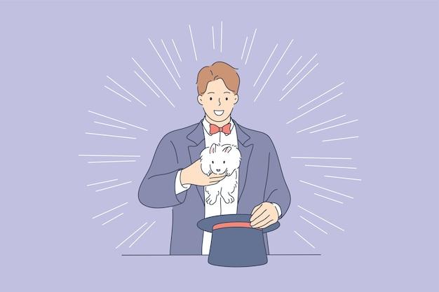 Zauberer-zeichentrickfigur, die trick macht