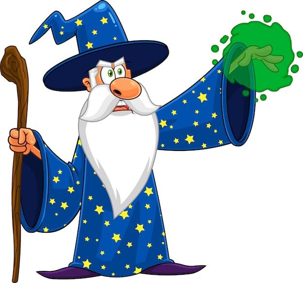 Zauberer-zeichentrickfigur mit einem stock, der magie macht.
