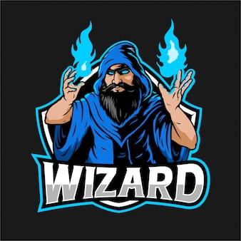 Zaubererillustration mit blauem feuer in der hand für esport logo