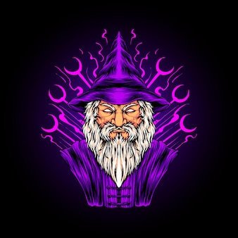 Zaubererkopf illustration premium-vektor, perfekt für t-shirt