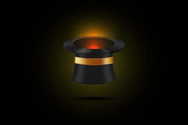 Zauberhut mit funkelndem licht, das von innen kommt