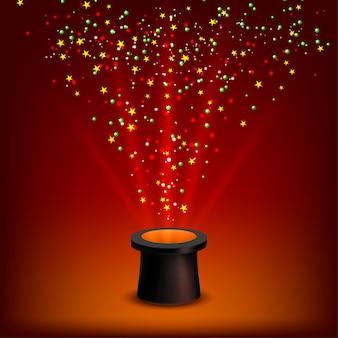 Zauberhut mit strahlen und konfetti auf rotem grund.