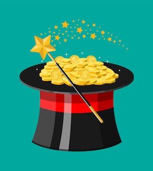 Zauberhut, zauberstab und goldmünzen. illusionistische mütze voller geld. goldene münze mit dollarzeichen.