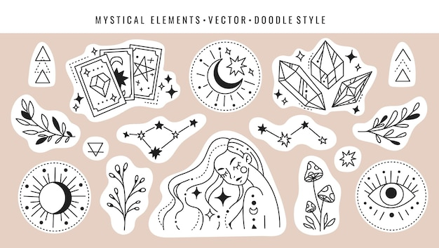 Zauberkarten, kristallkonstellation, mädchen, pilze, pflanzen und magische symbole. set mystischer elemente im doodle-stil.