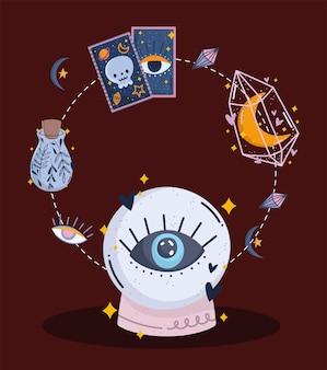 Zauberkarten mit kristallkugeln