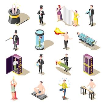 Zaubershow isometrisch mit levitation, gefahrentricks, jongleur, mysterien des illusionisten