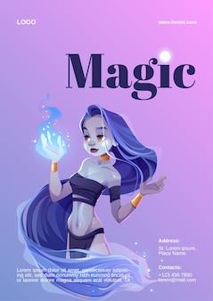 Zaubershowplakat mit mystischem mädchen halten blaues feuer auf hand.