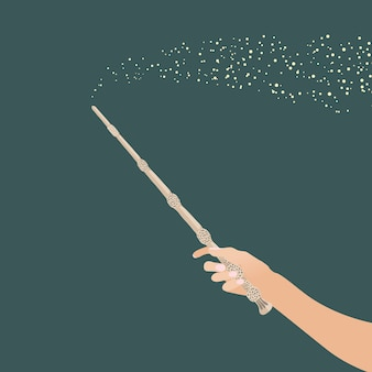 Zauberstab hand für hexen und zauberer vintage sticks hexerei schulen fantasy-spiele Premium Vektoren