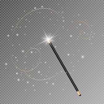 Zauberstab mit magisch funkelnder glitzerspur