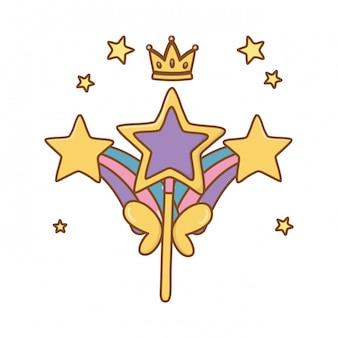 Zauberstab mit regenbogen und krone