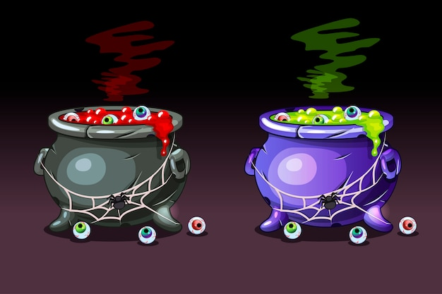 Zaubertrank mit augen. fröhliches halloween, hexenkessel.