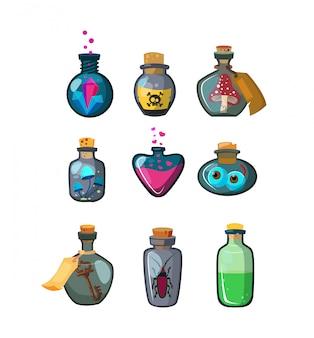 Zaubertrankflaschen gesetzt
