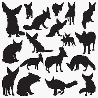 Zaun fox silhouetten festgelegt