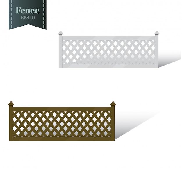 Zaun mit säulen. holzgitter, tore und zäune für den hof. stil. in den hellen und braunen tönen. illustration.