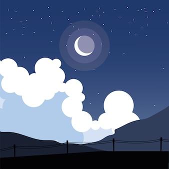 Zaun silhouette in front nachthimmel design, landschaft naturumgebung und outdoor-thema