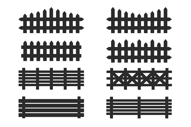 Zaun silhouette. schwarzer holzzaun lokalisiert auf weißem hintergrund.