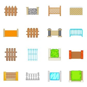 Zaunmodule icons set