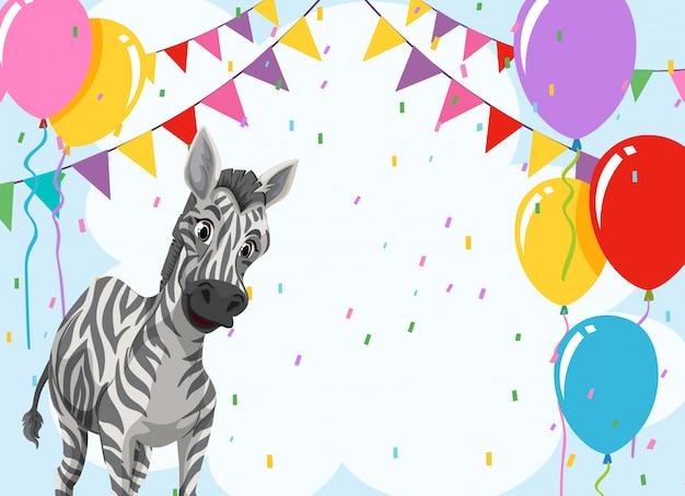 Zebra auf partyvorlage