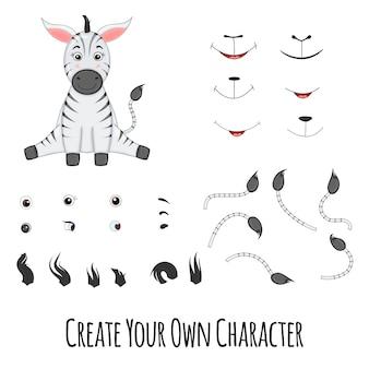 Zebra, der sitzt und ersatzteile dafür