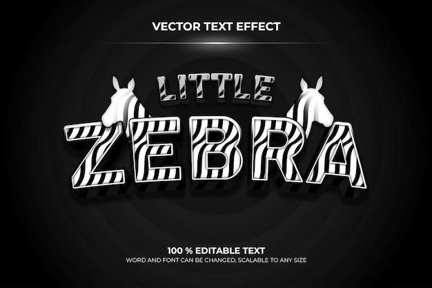 Zebra editierbarer 3d-texteffekt mit tierhintergrundstil