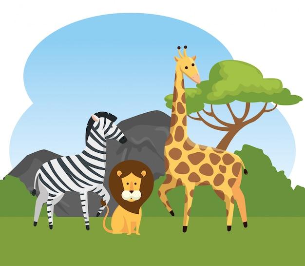 Zebra mit wilden tieren des löwes und der giraffe