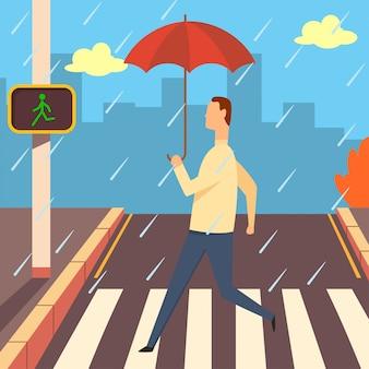 Zebrastreifen mit zebra- und ampelkarikaturillustration. mann mit regenschirm im regen, der über straße geht.