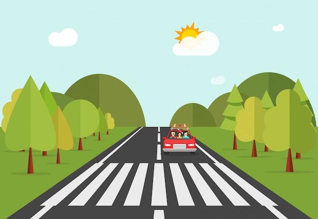 Zebrastreifenwegstraße mit automobilauto