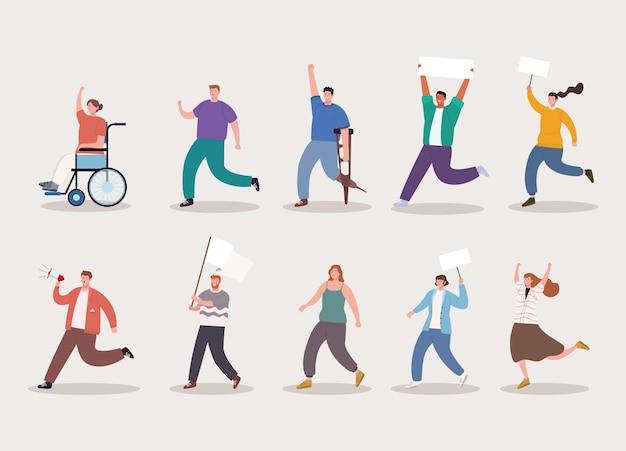 Zehn aktivisten-charaktere