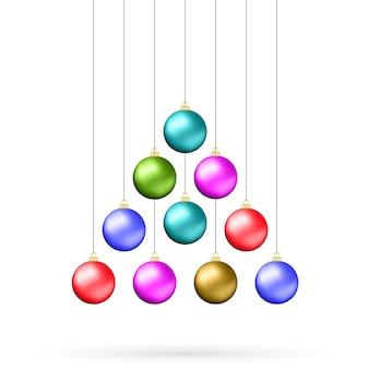 Zehn bunte weihnachtskugeln